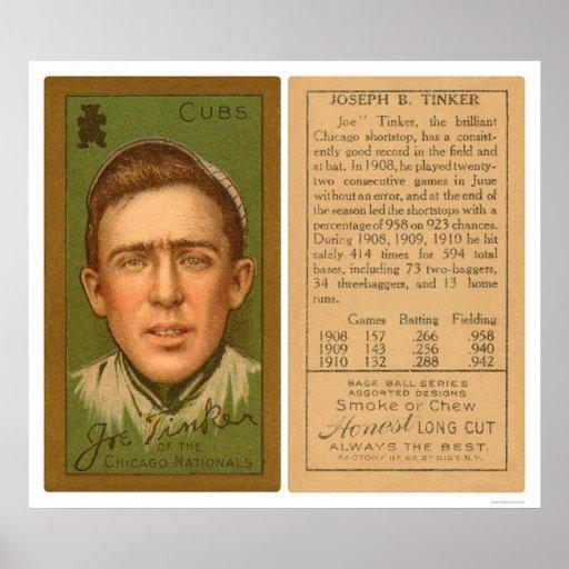 Béisbol 1911 de Cubs del chapucero de Joe Póster