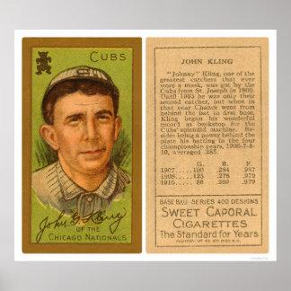 Béisbol 1911 de Juan Kling Cubs Póster