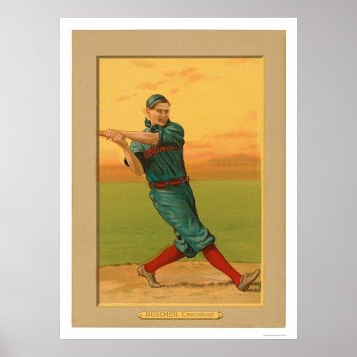Béisbol 1911 de los rojos de Bob Bescher Póster