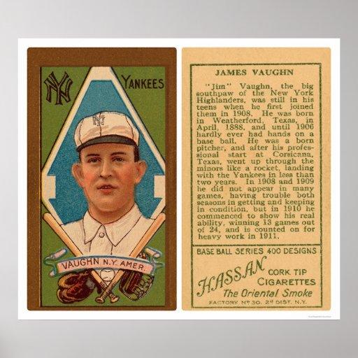 Béisbol 1911 de los yanquis de Vaughn del hipopóta Poster