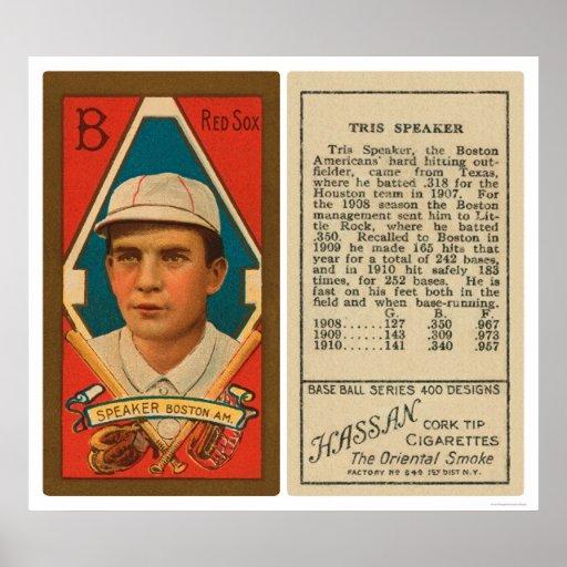 Béisbol 1911 de Red Sox del altavoz de Tris Póster