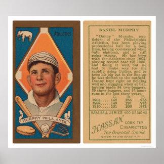 Béisbol 1911 del atletismo de Danny Murphy Póster