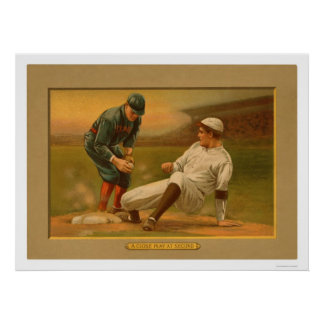 Béisbol 1911 del juego de la segunda base posters