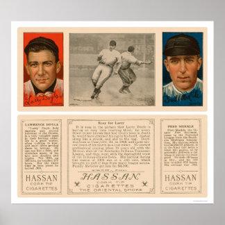 Béisbol 1912 de Doyle y de Merkle Giants Póster