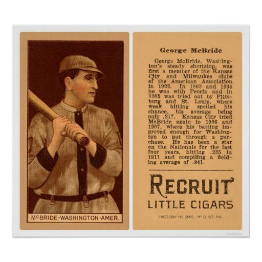 Béisbol 1912 de George McBride Washington Póster