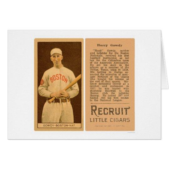 Béisbol 1912 de Hank Gowdy Braves Tarjeta De Felicitación
