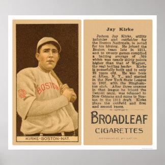 Béisbol 1912 de Jay Kirke Braves Póster