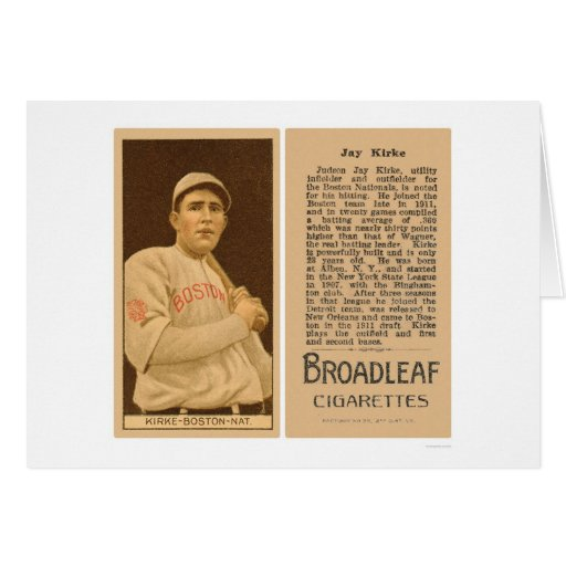 Béisbol 1912 de Jay Kirke Braves Tarjeta De Felicitación