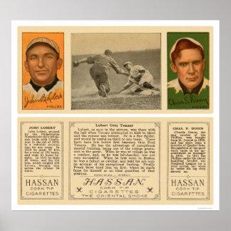 Béisbol 1912 de Lobert y de Tenney Phillies Posters
