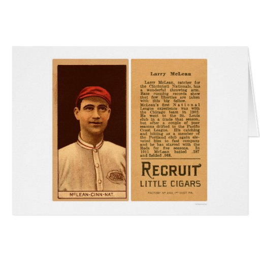 Béisbol 1912 de los rojos de Larry McLean Tarjeta