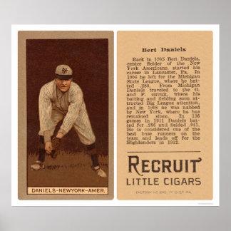 Béisbol 1912 de los yanquis de Bert Daniels Poster
