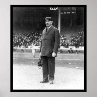 Béisbol 1914 de Bill Klem del árbitro Póster