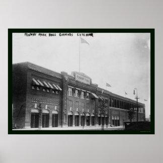 Béisbol 1914 de Fenway Park Boston Póster