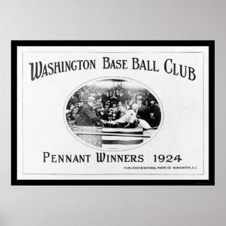 Béisbol 1924 de los ganadores del banderín póster