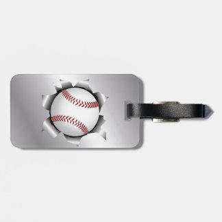béisbol a través de la hoja de metal etiquetas de maletas