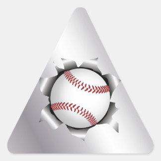 béisbol a través de la hoja de metal pegatina triangular