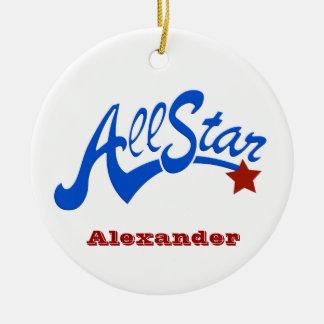 Béisbol All Star Adorno Navideño Redondo De Cerámica