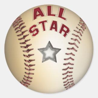 Béisbol All Star Pegatina Redonda