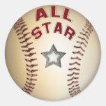 Béisbol All Star Pegatinas Redondas