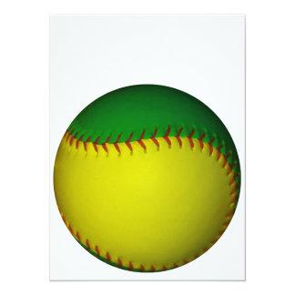 """Béisbol amarillo y verde invitación 5.5"""" x 7.5"""""""