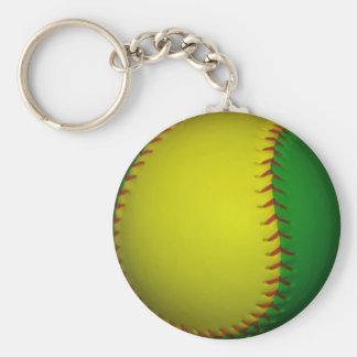 Béisbol amarillo y verde llaveros