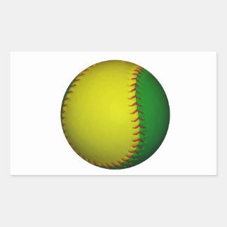 Béisbol amarillo y verde pegatina rectangular