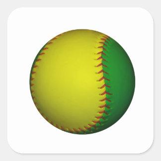 Béisbol amarillo y verde pegatina cuadrada