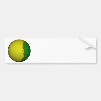 Béisbol amarillo y verde pegatina para auto