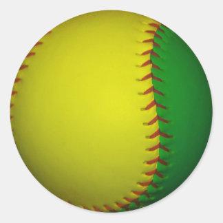 Béisbol amarillo y verde pegatina redonda