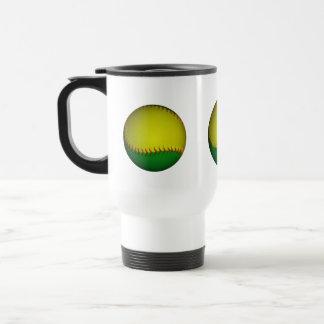 Béisbol amarillo y verde taza de viaje de acero inoxidable