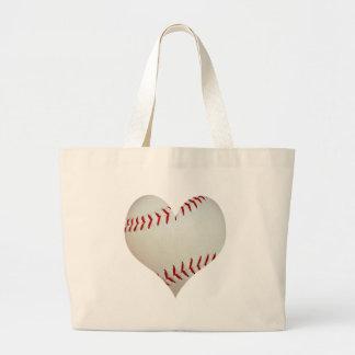 Béisbol americano en una forma del corazón bolsa de tela grande