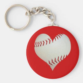 Béisbol americano en una forma del corazón llavero redondo tipo pin