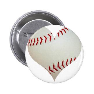 Béisbol americano en una forma del corazón pin