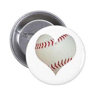 Béisbol americano en una forma del corazón pin redondo 5 cm