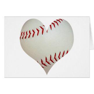 Béisbol americano en una forma del corazón tarjeta de felicitación