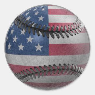 Béisbol americano pegatina redonda