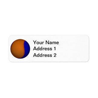 Béisbol anaranjado y azul etiqueta de remite