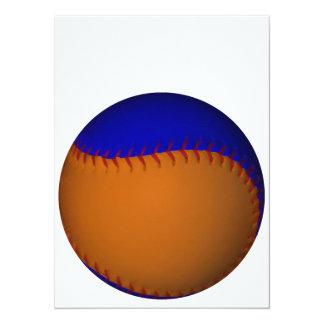 """Béisbol anaranjado y azul invitación 5.5"""" x 7.5"""""""
