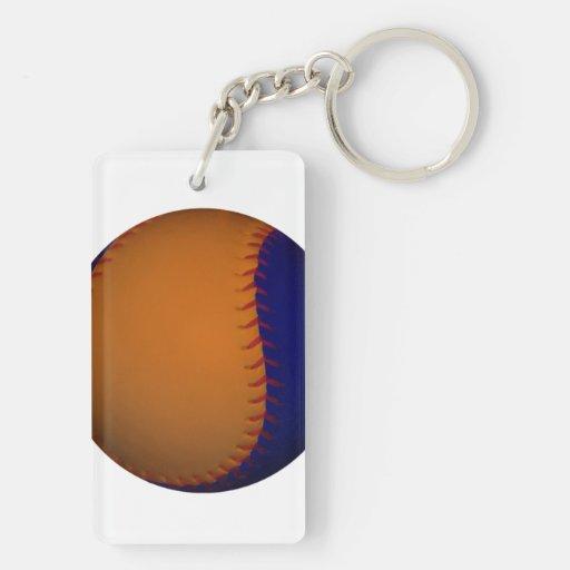 Béisbol anaranjado y azul llavero rectangular acrílico a doble cara