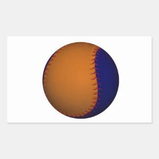 Béisbol anaranjado y azul pegatina rectangular