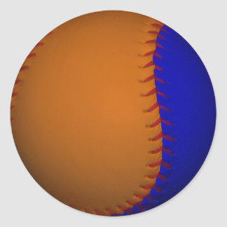 Béisbol anaranjado y azul pegatina redonda