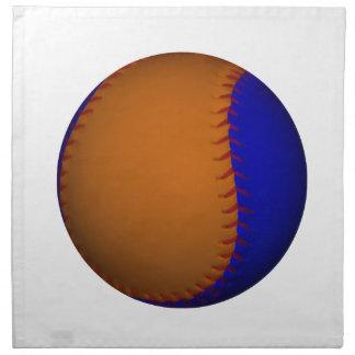 Béisbol anaranjado y azul servilleta imprimida