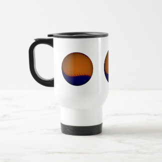 Béisbol anaranjado y azul taza de viaje de acero inoxidable