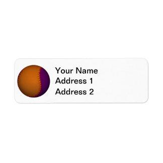 Béisbol anaranjado y púrpura etiquetas de remite