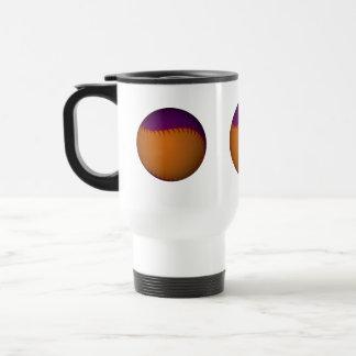 Béisbol anaranjado y púrpura taza de viaje de acero inoxidable