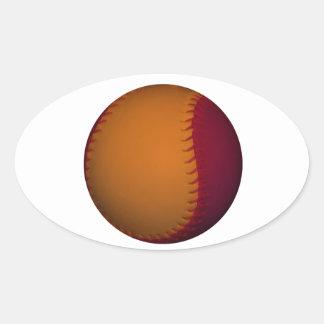 Béisbol anaranjado y rojo oscuro pegatina ovalada