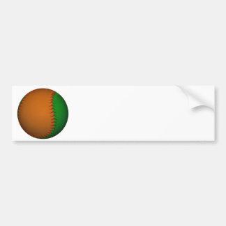 Béisbol anaranjado y verde pegatina para auto