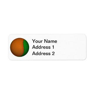 Béisbol anaranjado y verde etiqueta de remite