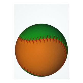"""Béisbol anaranjado y verde invitación 5.5"""" x 7.5"""""""