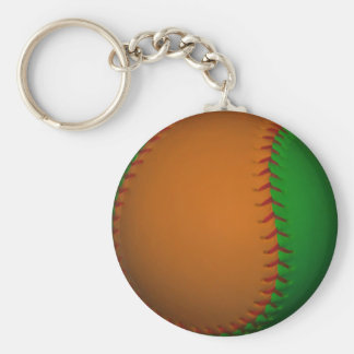 Béisbol anaranjado y verde llavero